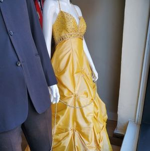 Size 4 fit yellow taffeta pickup ballgown